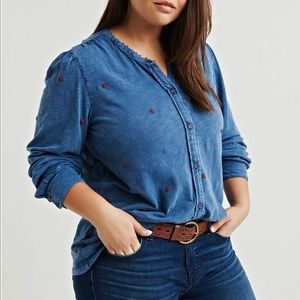 New Lucky Brand Plus Size Washed Embroidered Top